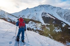 A man in the mountains. Ski touring on a split snowboard. A man stands with his back to the viewer and looks at the mountain stock photos