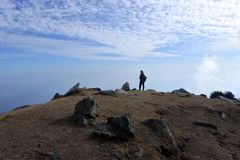 Man in the mountains. Triund hill. stock image