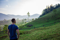 Man in the mountains royalty free stock photos