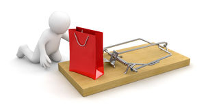 Man and Mousetrap with bag (clipping path included) Royalty Free Stock Photos