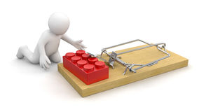 Man and Mousetrap with Block (clipping path included) Stock Photos