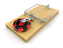 Man and Mousetrap with Casino chips Royalty Free Stock Photos