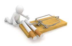 Man and Mousetrap with Cigarettes (clipping path included) Royalty Free Stock Photo