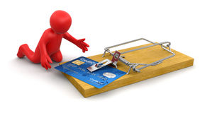 Man and mousetrap with Credit Card (clipping path included) Stock Image