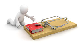 Man and Mousetrap with Document Stock Photo
