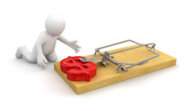 Man and Mousetrap with Dollar Sign (clipping path included) Stock Photography