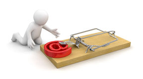 Man and Mousetrap with E-Mail (clipping path included) Royalty Free Stock Image