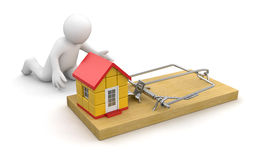 Man and Mousetrap with house (clipping path included) Stock Photo