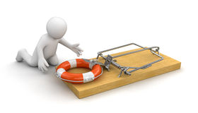 Man and Mousetrap with Lifebuoy (clipping path included) Stock Image