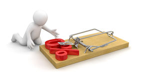 Man and Mousetrap with Percentage Sign 0% (clipping path included) Stock Image