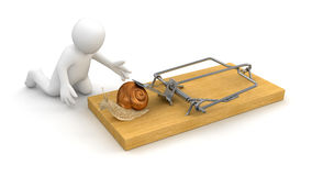 Man and Mousetrap with Snail (clipping path included) Royalty Free Stock Photography