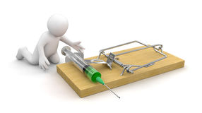 Man and Mousetrap with Syringe (clipping path included) Stock Photography