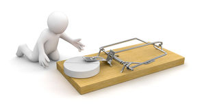 Man and Mousetrap with Tablet (clipping path included) Royalty Free Stock Image