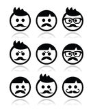 Man with moustache or mustache, avatar  icons set Stock Photos