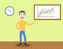 Man with moustaches giving a presentation in office. Royalty Free Stock Image