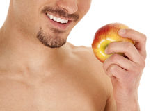 Man mouth and apple Royalty Free Stock Image