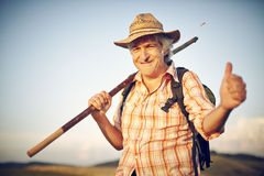 Man mouth blade of grass straw hat summer meadow Royalty Free Stock Image