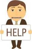 Man with mouth closed with a zipper asks for help. Cartoon sad man with mouth closed with a zipper asks for help Royalty Free Stock Images