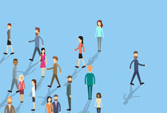 Man Move Stand Out From Crowd Individual Business People. Group Concept Flat Vector Illustration vector illustration
