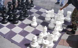 Man Moves Piece People Playing Giant Chess Game Sidewalk Downtow Stock Photography
