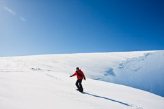 Man moves on snowboard Stock Image