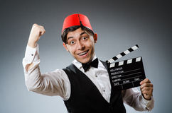 Man with movie board Royalty Free Stock Photos