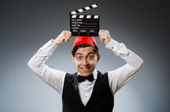 Man with movie board Stock Photography