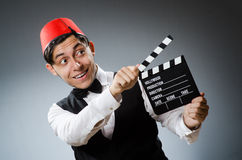 Man with movie board Royalty Free Stock Images