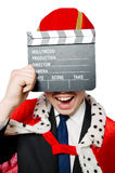 Man with movie clapboard isolated Stock Photos