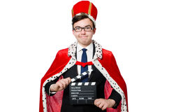 Man with movie clapboard isolated Royalty Free Stock Image