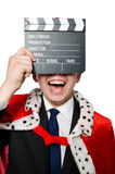 Man with movie clapboard isolated Stock Image