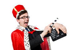 Man with movie clapboard isolated Stock Photography