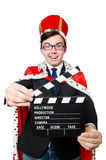Man with movie clapboard isolated Royalty Free Stock Images