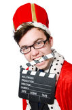 Man with movie clapboard isolated Stock Images