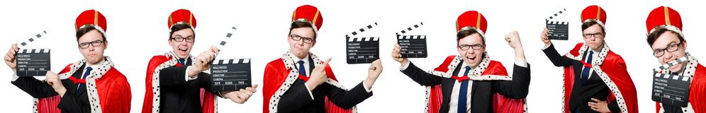 The man with movie clapboard isolated on white. Man with movie clapboard isolated on white Royalty Free Stock Photos