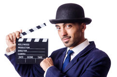 Man with movie clapper Royalty Free Stock Photography