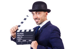 Man with movie clapper Royalty Free Stock Image