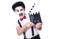 Man with movie clapper Royalty Free Stock Photo