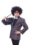 Man with movie clapper Stock Photo