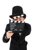 Man with movie clapper isolated Royalty Free Stock Images