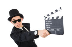 Man with movie clapper isolated Royalty Free Stock Photo