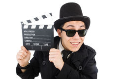 Man with movie clapper isolated Stock Photo