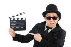 Man with movie clapper isolated Stock Photos