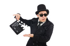 Man with movie clapper isolated Royalty Free Stock Photography