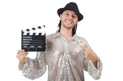 Man with movie clapperboard Royalty Free Stock Photo