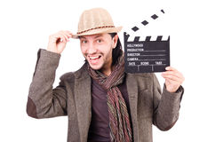Man with movie clapperboard Royalty Free Stock Image