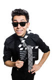 Man with movie clapperboard Royalty Free Stock Images