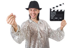Man with movie clapperboard. And hat Stock Images