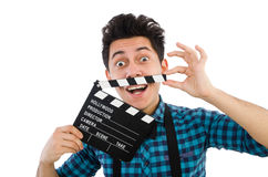Man with movie clapperboard isolated Royalty Free Stock Photos