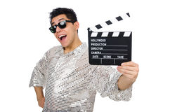 Man with movie clapperboard isolated Royalty Free Stock Image